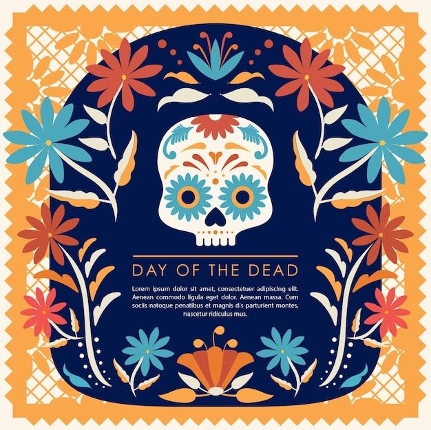 Crânio de açúcar floral do dia dos mortos do méxico