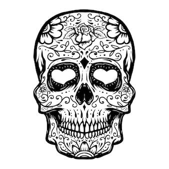 Crânio de açúcar mão desenhada no fundo branco. dia dos mortos. elemento para cartaz, camiseta. ilustração