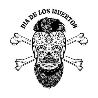 Crânio de açúcar mexicano barbudo com ossos cruzados. dia dos mortos.