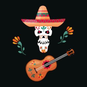Crânio de açúcar mexicano com guitarra e chapéu