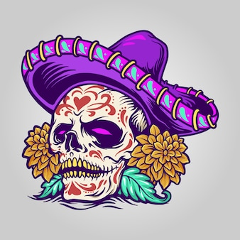 Crânio de açúcar mexicano dia de muertos