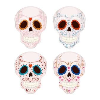 Crânio de açúcar mexicano dos desenhos animados com ilustração de padrões tradicionais para o dia dos mortos