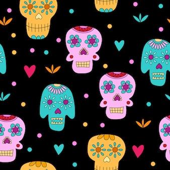 Crânio de açúcar - padrão sem emenda. conceito do dia dos mortos
