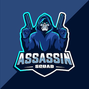 Crânio de assassino com armas mascote esport logotipo