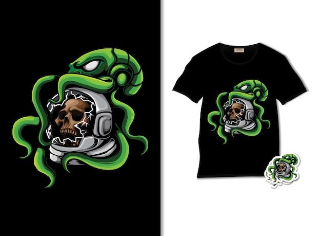 Crânio de astronauta com ilustração de polvo e design de camiseta