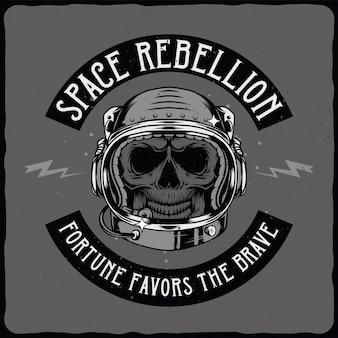Crânio de astronauta no capacete