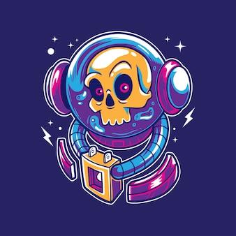 Crânio de astronauta no espaço