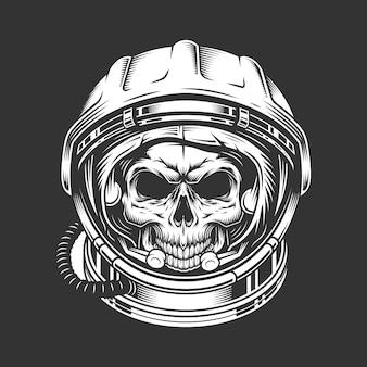 Crânio de astronauta vintage no capacete espacial