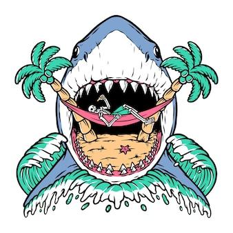 Crânio de ataque de tubarão na praia