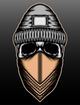 Crânio de bandido com desenho de ilustração desenhada à mão bandana