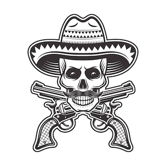 Crânio de bandido mexicano com chapéu sombrero, com bigode e ilustração de armas cruzadas em monocromático sobre fundo branco