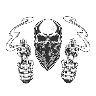 Crânio de bandido monocromático vintage na bandana