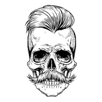 Crânio de barbeiro com bigode. tatuagem preta desenho mão desenhada linha arte ilustração