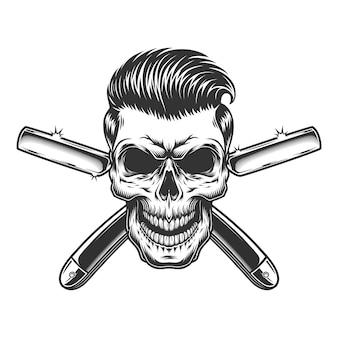 Crânio de barbeiro com penteado elegante
