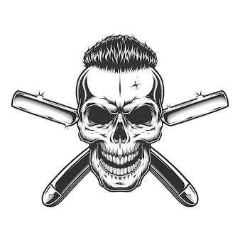 Crânio de barbeiro monocromático vintage