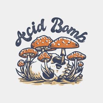 Crânio de bomba de ácido com cogumelos ao redor