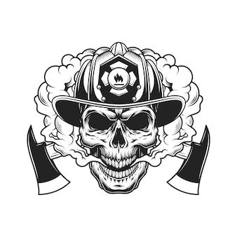 Crânio de bombeiro e machados cruzados