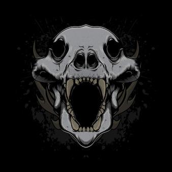 Crânio de cabeça de lobo