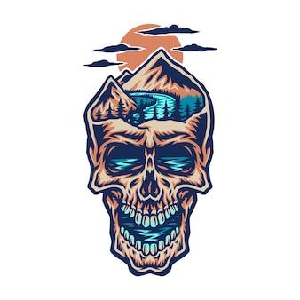Crânio de cabeça de montanha, linha de mão desenhada com cor digital