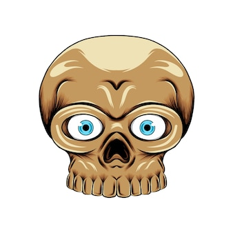 Crânio de cabeça pequena com olhos de lente azul com o nariz e os dentes