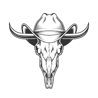 Crânio de cabra com chifres e chapéu de cowboy
