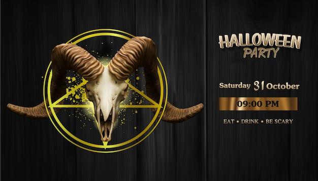 Crânio de cabra de satanás realista na estrela de satanás, banner de festa de halloween