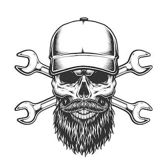 Crânio de camionista barbudo e bigode vintage