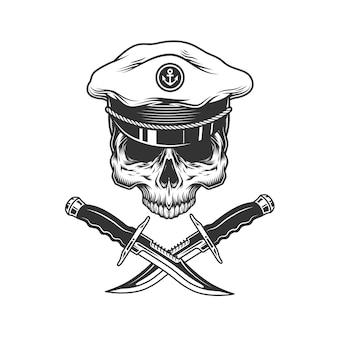 Crânio de capitão de mar vintage sem mandíbula