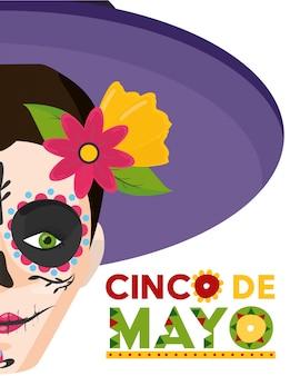 Crânio de catrina com anúncio da celebração mexicana, méxico