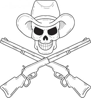 Crânio de caubói com espingarda cruzada