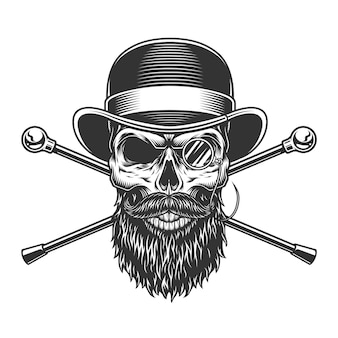 Crânio de cavalheiro barbudo e bigode