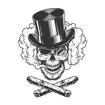 Crânio de cavalheiro usando chapéu de cilindro