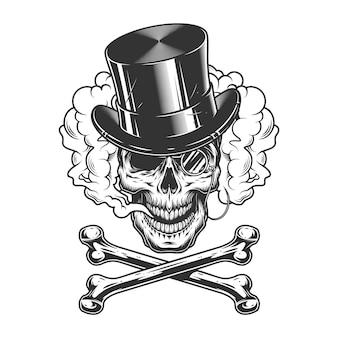 Crânio de cavalheiro vintage no chapéu do cilindro