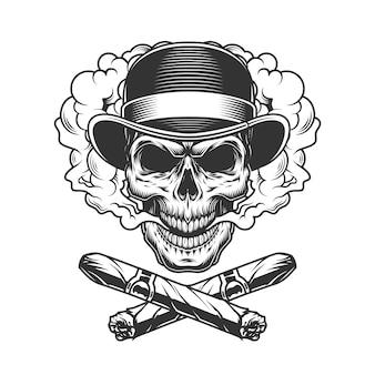 Crânio de cavalheiro vintage no chapéu fedora
