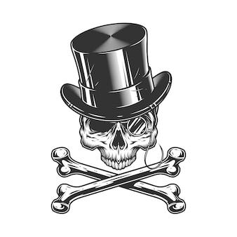 Crânio de cavalheiro vintage sem mandíbula