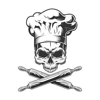 Crânio de chef vintage sem mandíbula