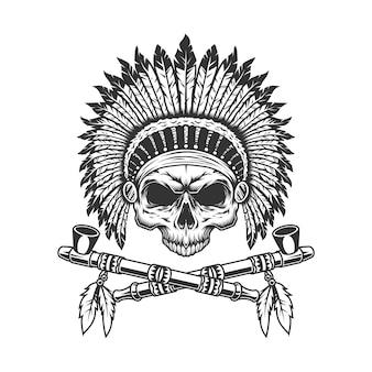 Crânio de chefe indiano vintage sem mandíbula