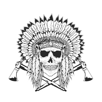 Crânio de chefe índio americano com tomahawk