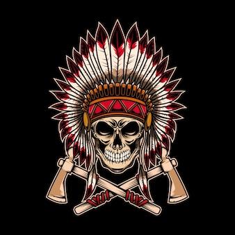 Crânio de chefe índio nativo com machadinhas cruzadas