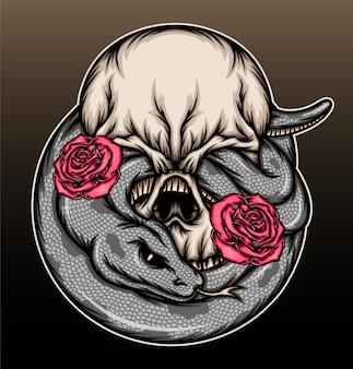Crânio de cobra legal com ilustração de rosas.