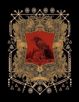 Crânio de corvo assustador na ilustração de gravura