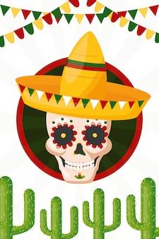Crânio de cultura mexicana, ilustração de cinco de maio, méxico