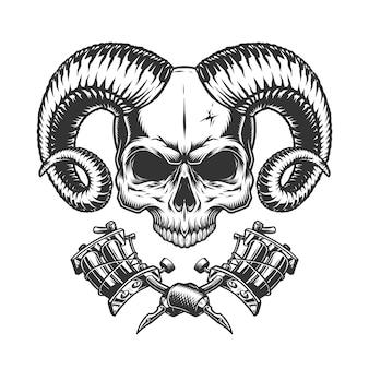 Crânio de demônio assustador sem mandíbula