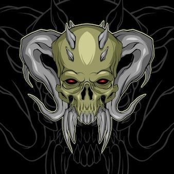 Crânio de demônio assustador