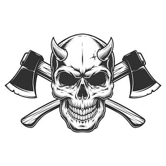 Crânio de demônio vintage com chifres