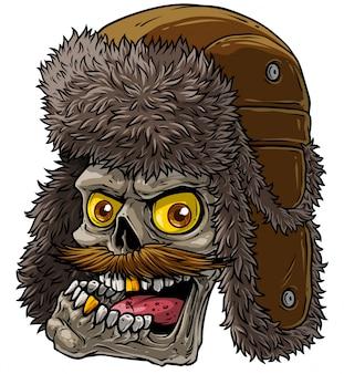 Crânio de desenho animado no chapéu de pele de inverno com abas de orelha