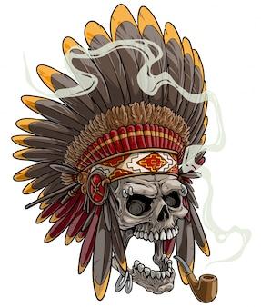 Crânio de desenho animado no cocar de chefe do índio americano
