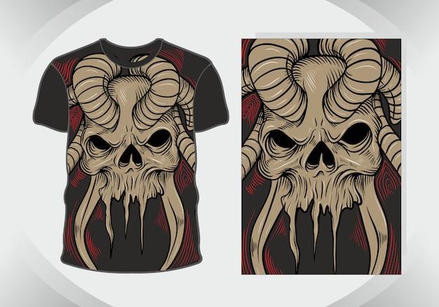 Crânio de design de camiseta, isolado, totalmente editável