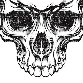 Crânio de estilo grunge retrô, vintage, mão de detalhe de desenho