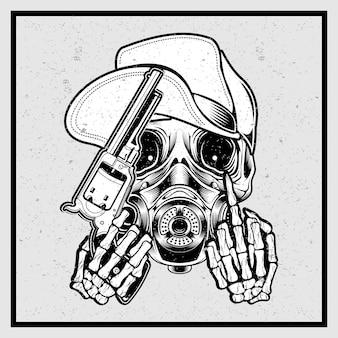 Crânio de estilo grunge usando um chapéu segurando uma arma e dedo